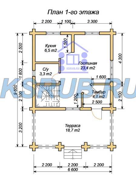 эскизный проект деревянный дом 112.4м из костромы 1-й этаж
